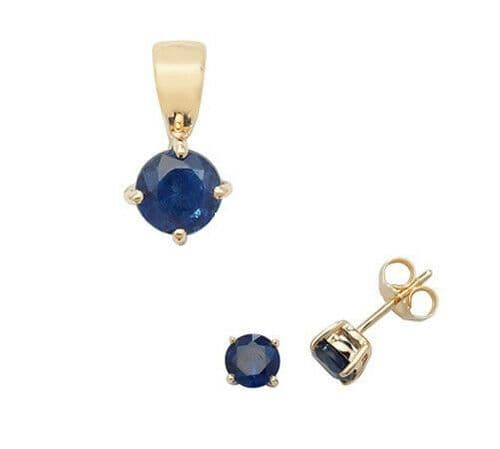 Sapphire Pendant and Earrings Set Classic Solitaire 9ct Yellow Gold Hallmarked